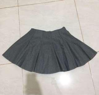 Grey Flannel Mini Skirt - Rok Mini