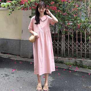 Big collar cute long dress