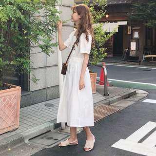 Square collar korean long dress