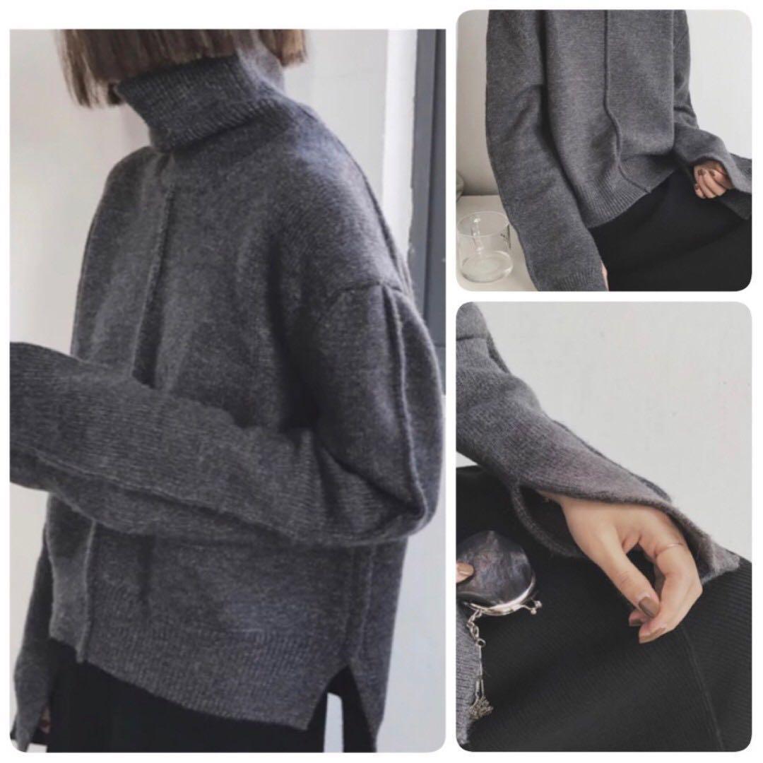 前短後長袖子開岔設計厚實高領毛衣