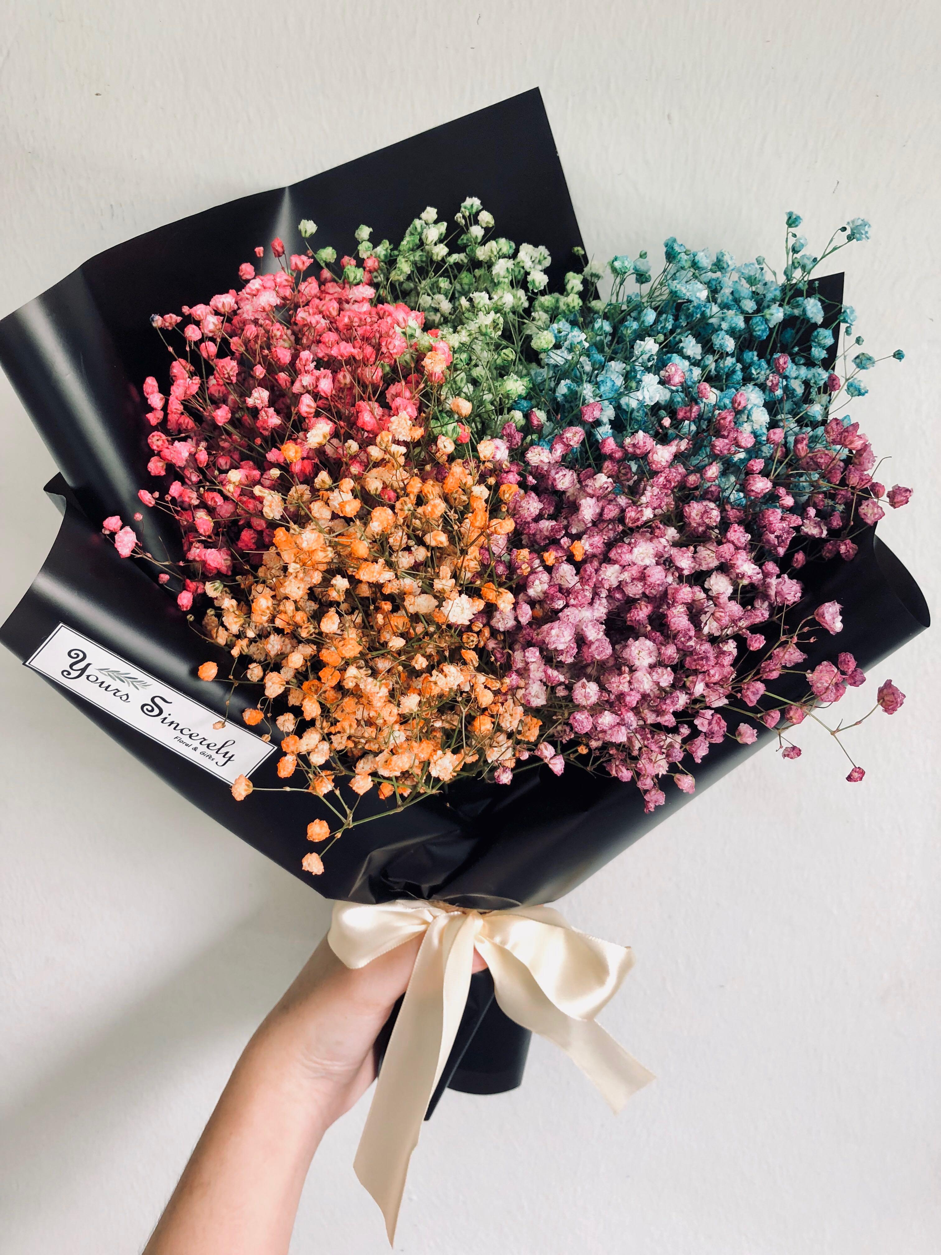 Rainbow Bouquet Baby S Breath Bouquet Gardening Flowers Bouquets On Carousell
