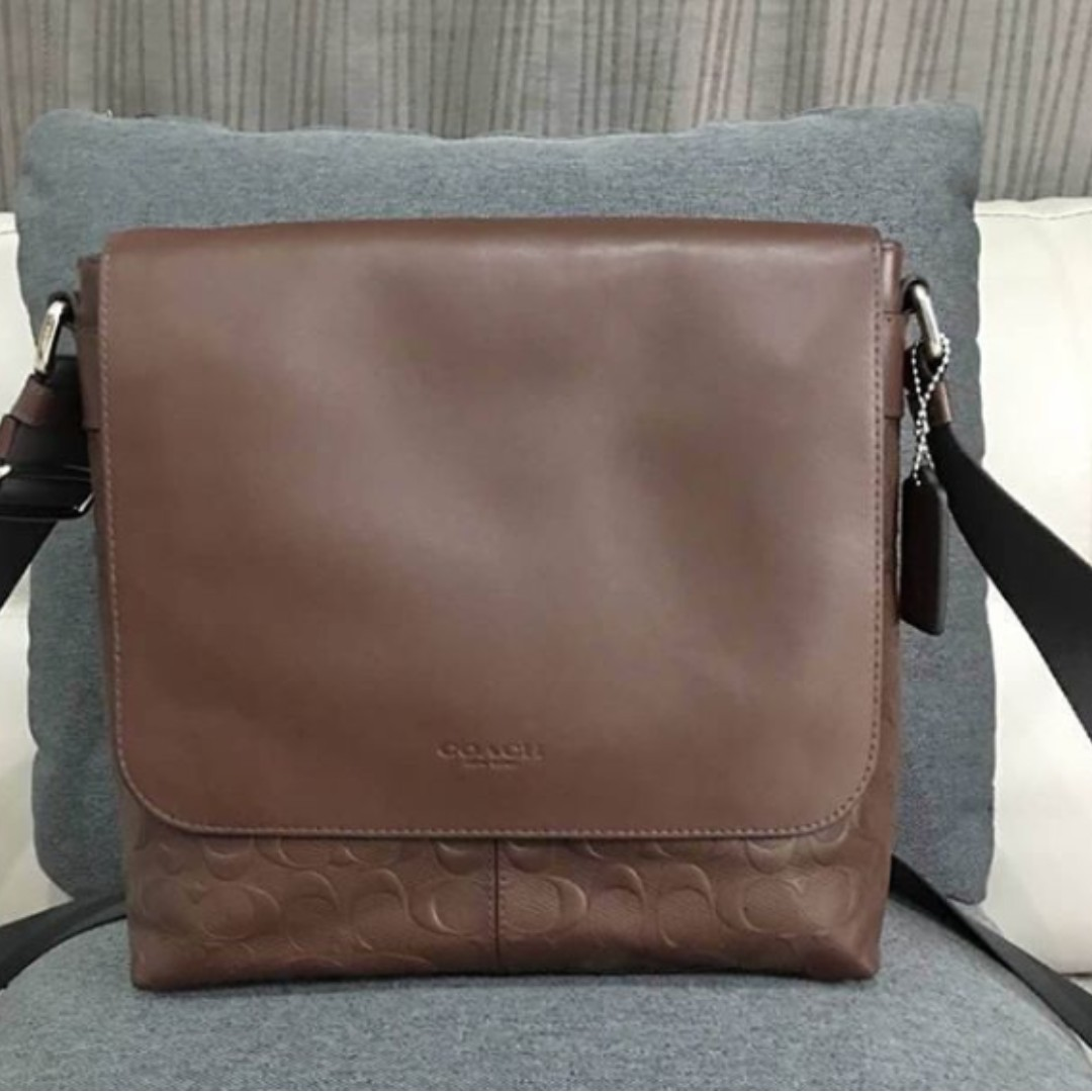 ... denmark authentic coach charles small messenger in signature crossgrain  leather f72220 brown mens fashion bags wallets e9f4f73c54f97