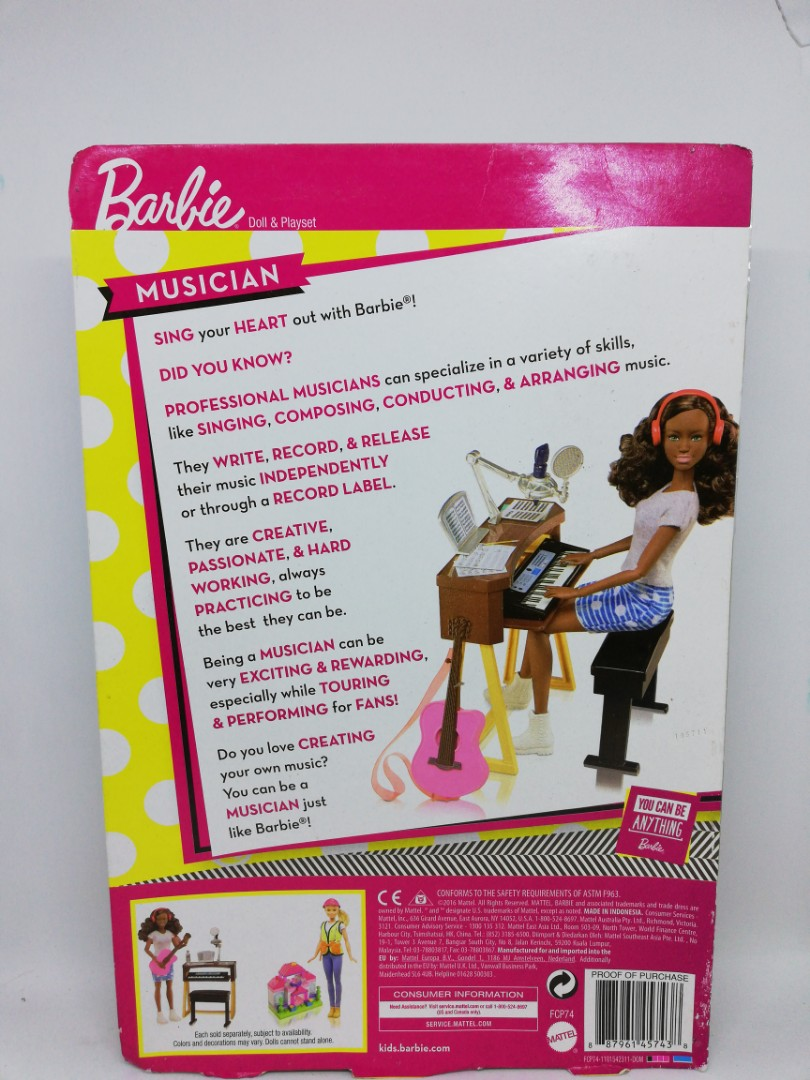 Barbie Musician Doll /& Playset  BRAND NEW FCP74  3+