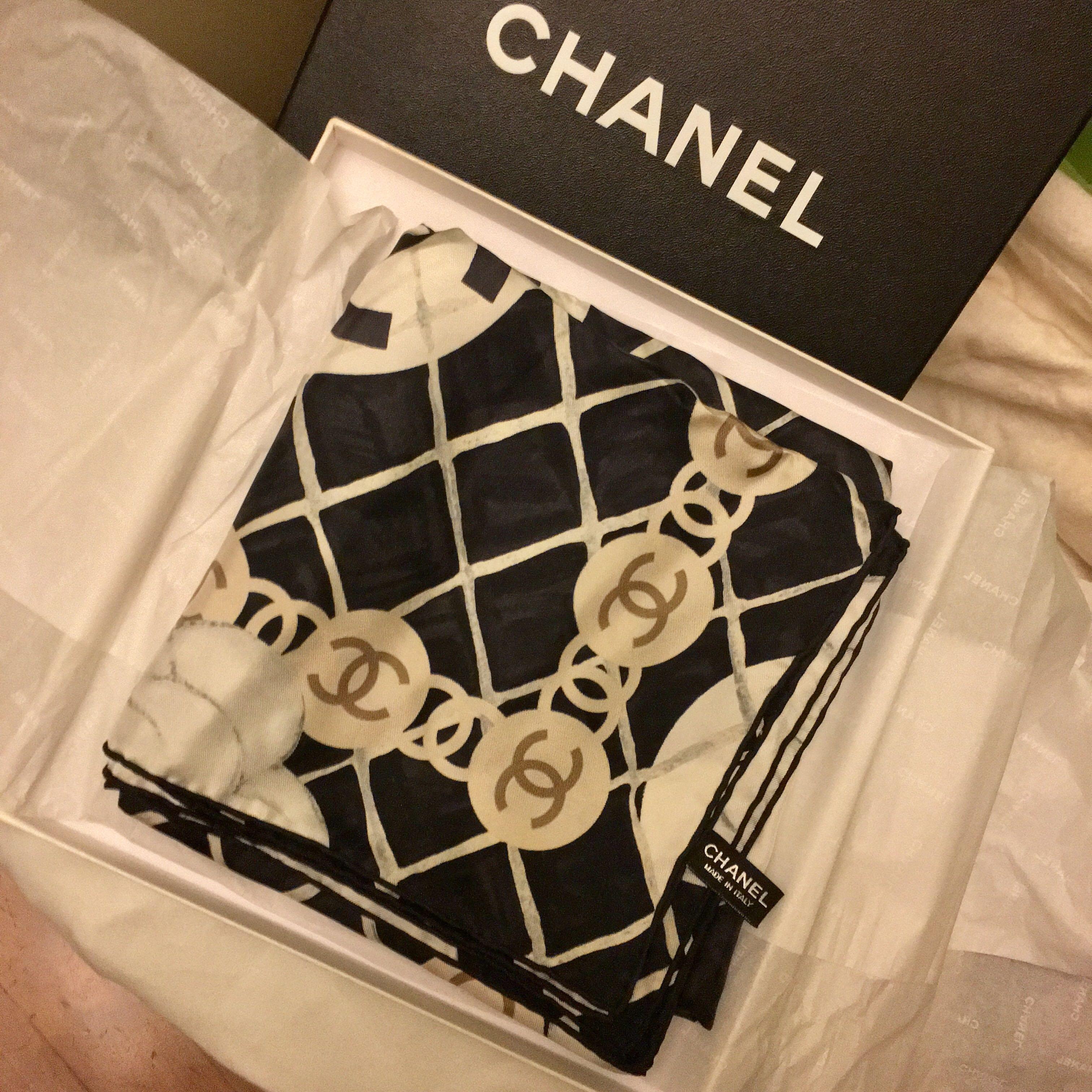 944ef9ec439 BNIB Chanel Silk Scarf