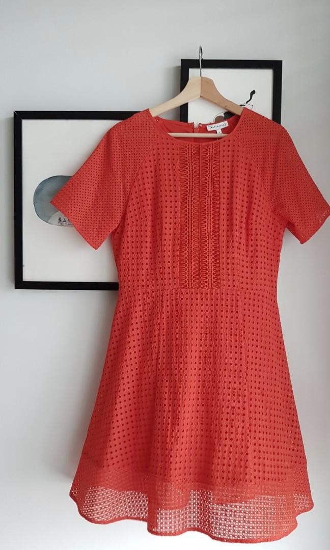 71a453cccb5 BNWT Warehouse Orange Eyelet Dress