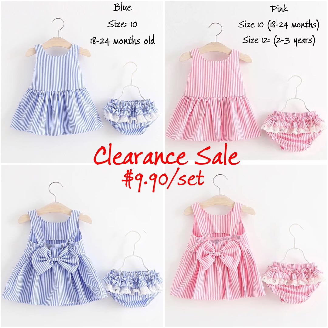 8e95f61843ebe Clearance Sale] Girl Clothing Set (Stripes Dress and Bloomer ...