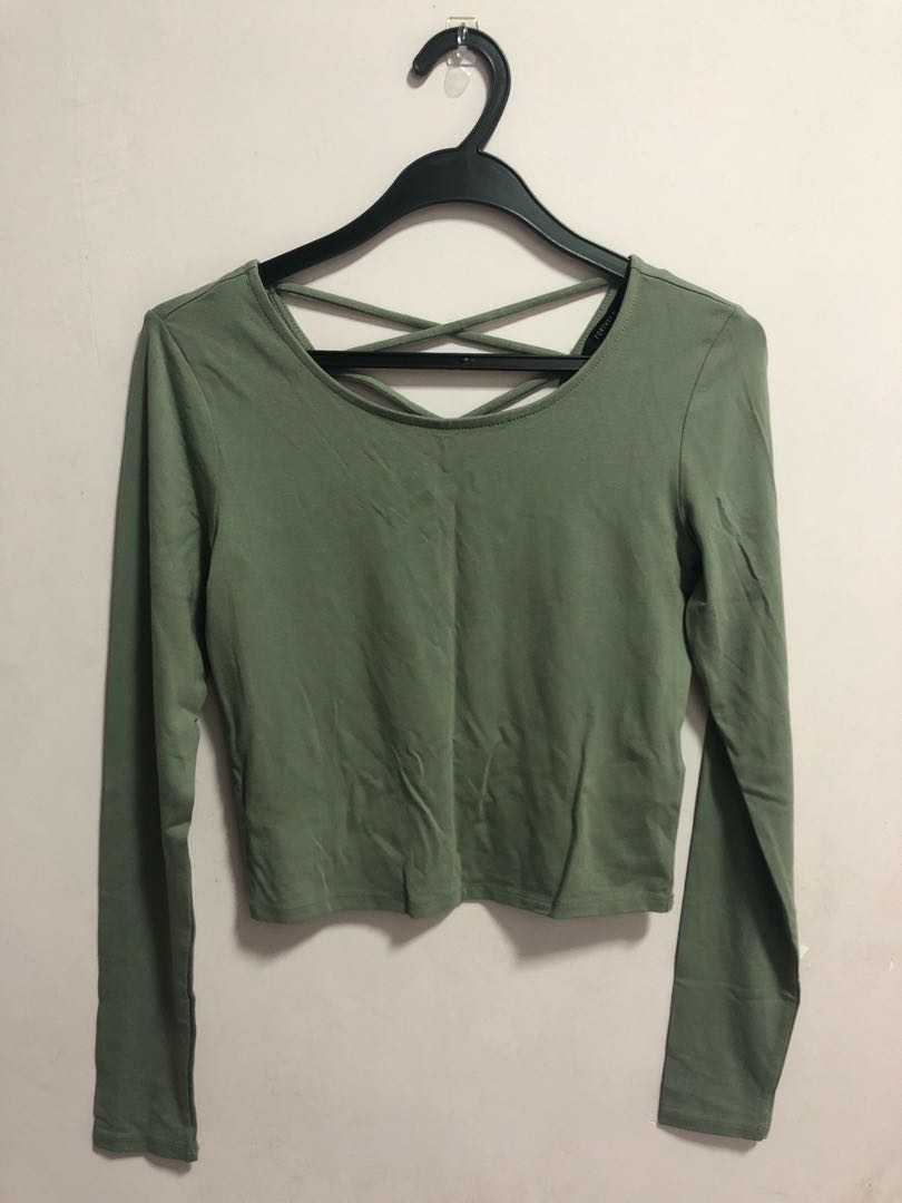 326276d7b8685 Forever 21 Olive Green Crop Top