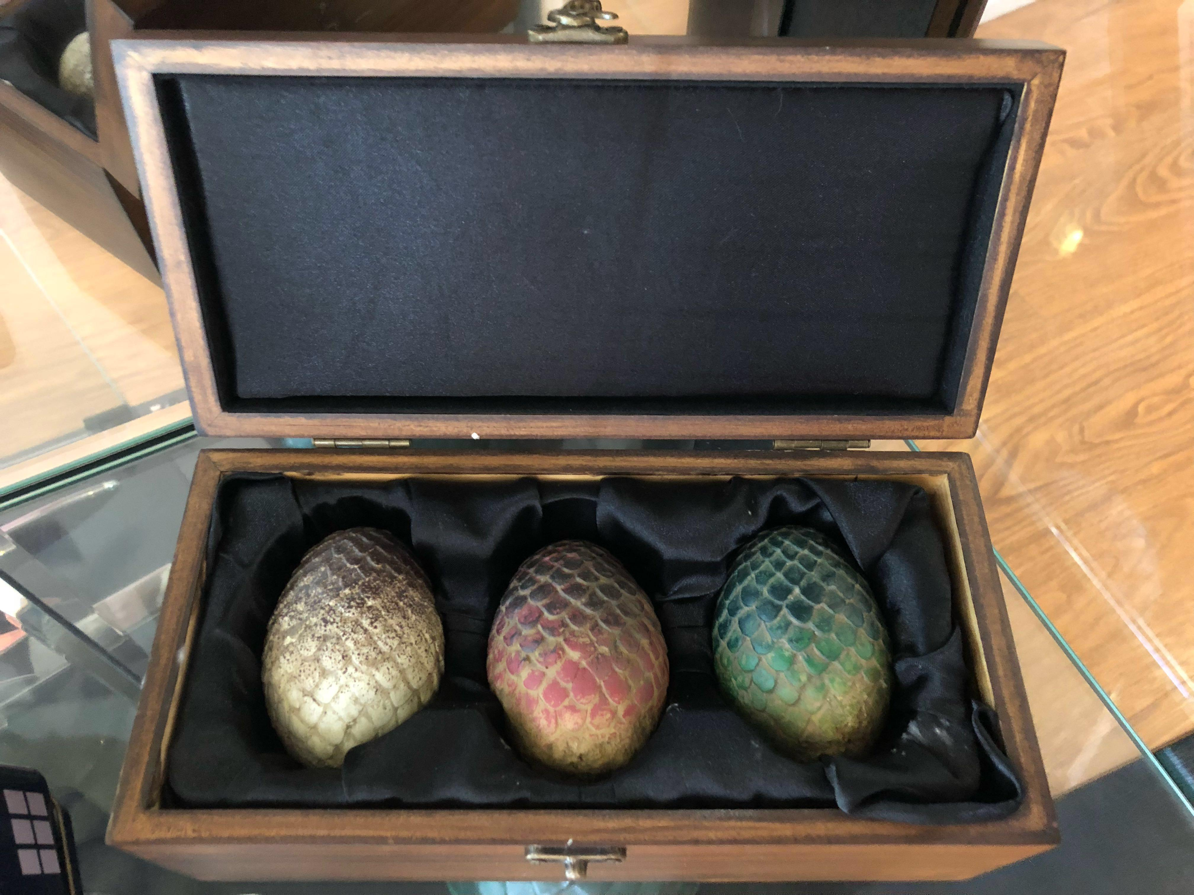 Game Of Thrones Dragon Egg Prop Replica Set In Wooden Box On Carousell