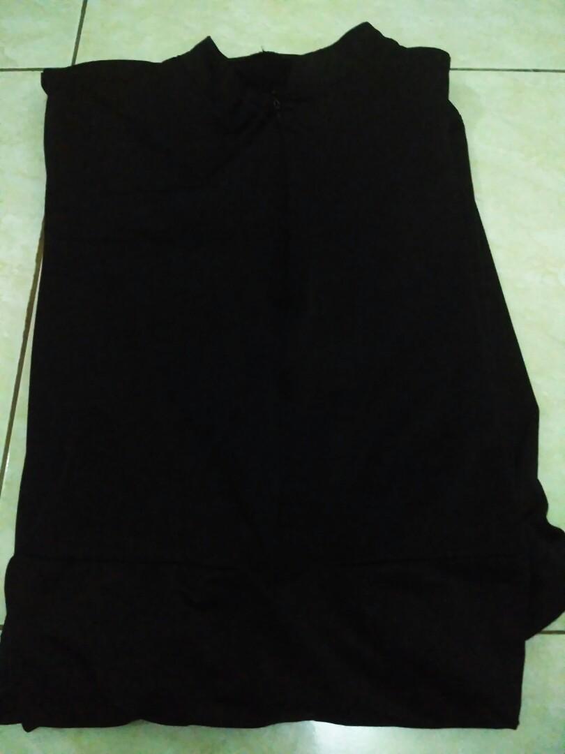 Gamis Hitam Polos Bahan Jersey Adem Banget Melar Muat Sampe Bb 70kg
