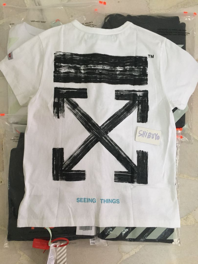 09c3055d [Instock] Off White Arrow Brushed Tee, Men's Fashion, Clothes, Tops on  Carousell
