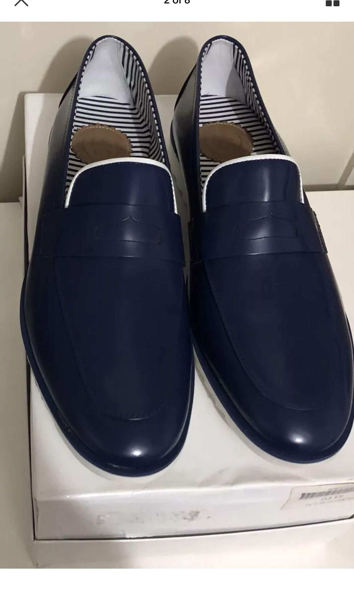 Mens HEMSTEAD & SONS Leather Blue Loafers. Size 41.  Brand New in Box - RRP $355