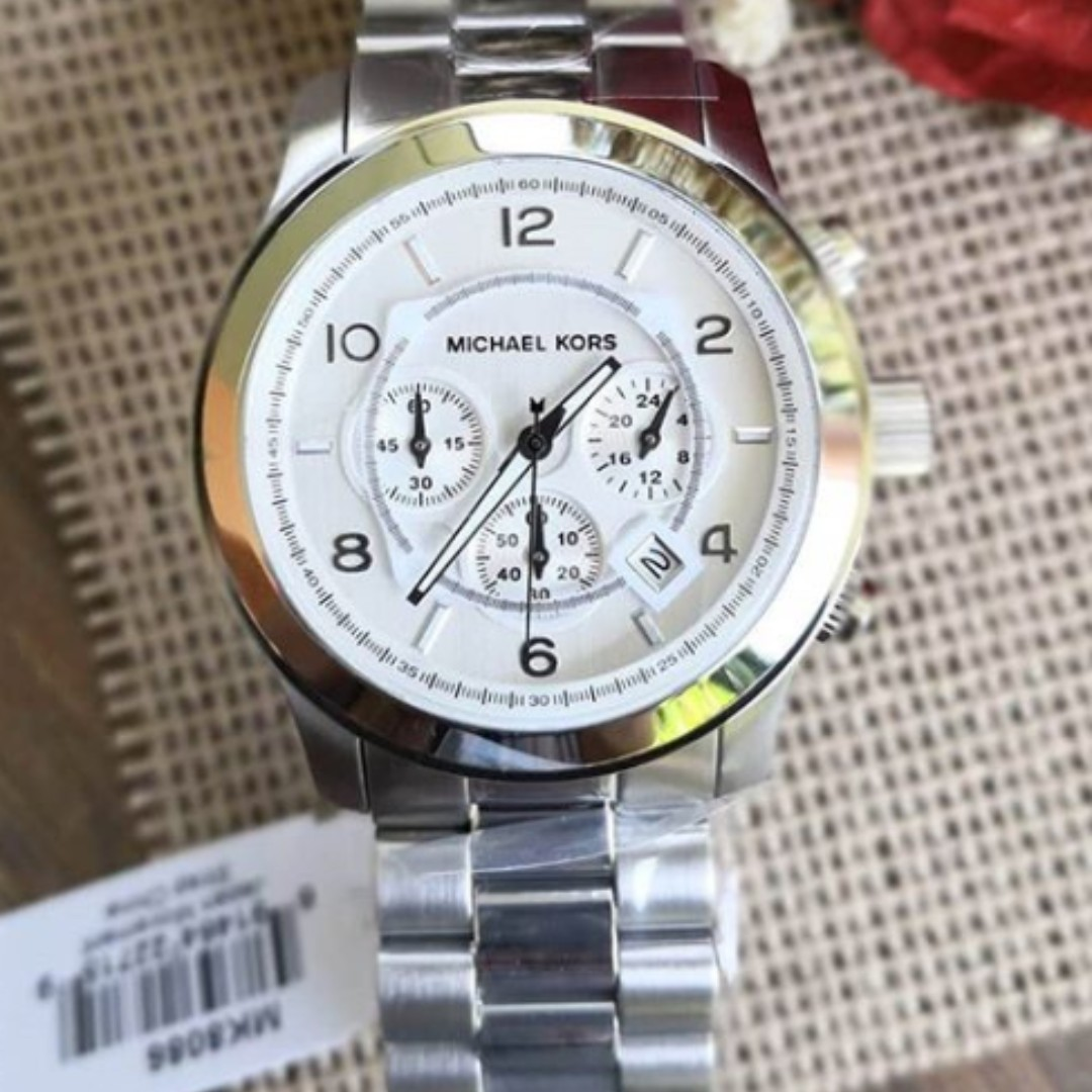 4a9b1bb2f15a Michael Kors Runway Chronograph Champagne Dial Silver-tone Men s Watch -  MK8086