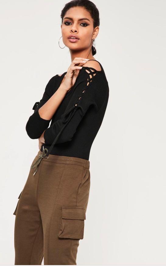 b5161a10f9 Missguided Black Bardot Lace Up Sleeve Bodysuit