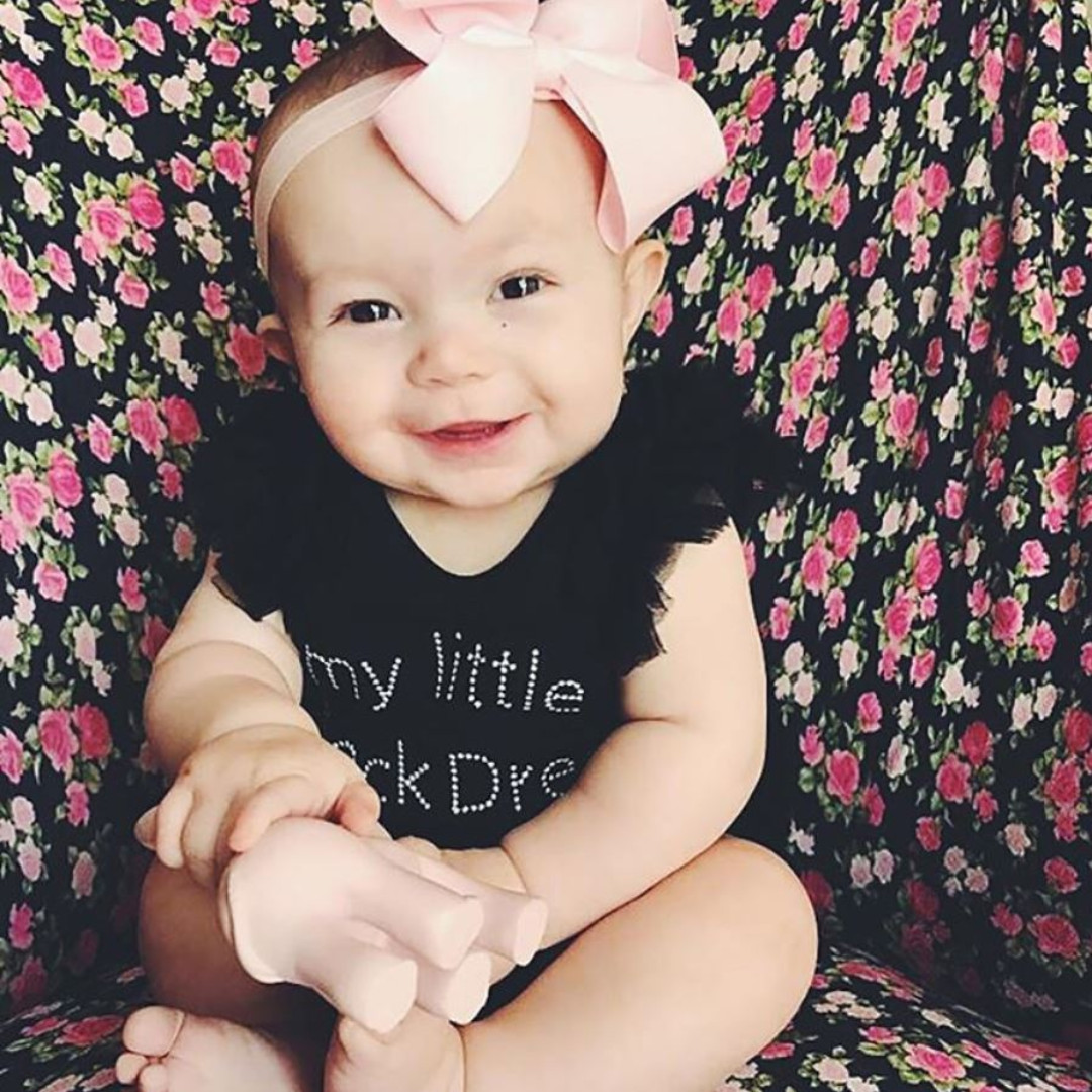 6a3728f02452 ✓️STOCK - MY LITTLE BLACK DRESS WITH PINK BOW RIBBON BLACK ONESIE ...
