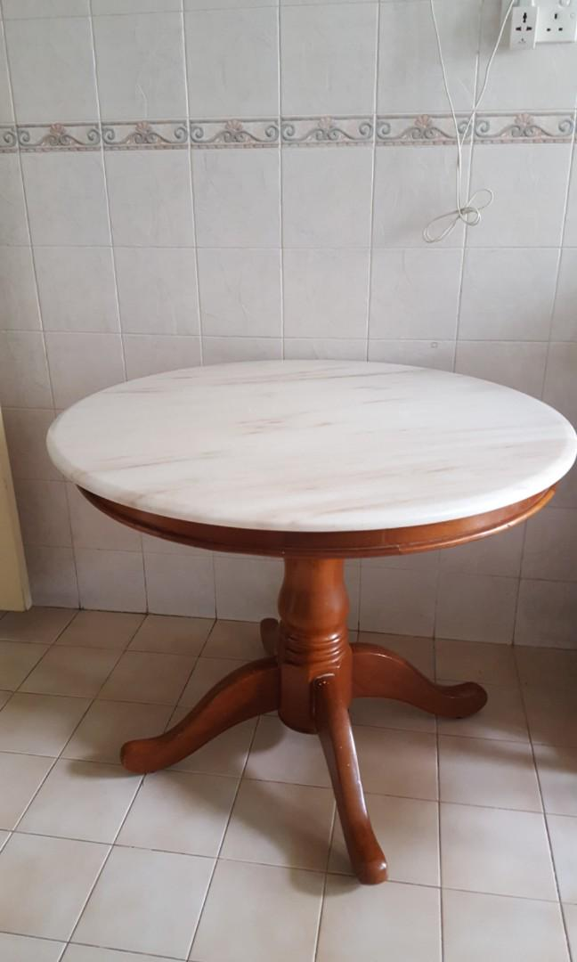 White Round Marble Dining Table Furniture Tables Chairs On Carousell