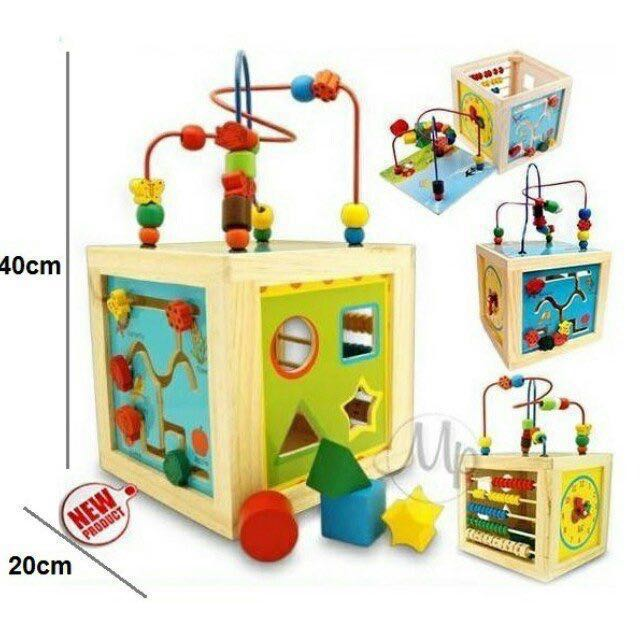 Wooden Activity Cube Babies Kids Toys Walkers On Carousell