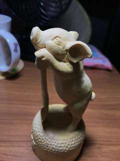 (清貨)黃楊木勤奮小豬