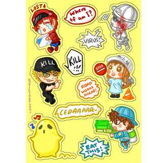 Hataraku Saibou Cells at Work kiss cut stickers