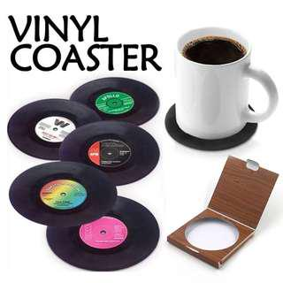6Pcs/set Retro Vinyl Drink Coasters Table Cup Mat Home Decor CD Record Coffee Drink Cup Placemat Tableware Gadgets