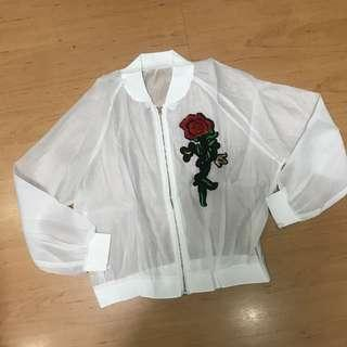 Rose Embroidery Sheer White Jacket