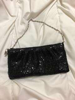 black evening purse clutch sling bag