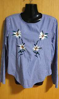 ZARA Floral Embroidered Blouse