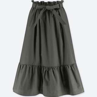 「近全新」日本帶回 uniqlo 高腰綁帶荷葉邊中長裙 裙子 優衣庫 日系 日牌
