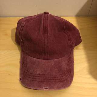 Red distressed hat