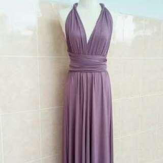 MAUVE TONE INFINITY DRESS / GOWN FREE SIZE ADULT