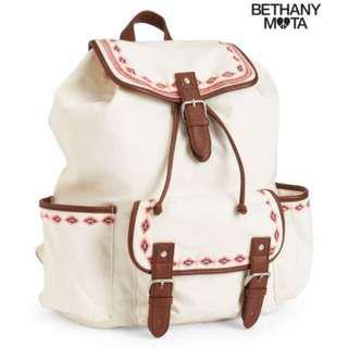 Aeropostale Bethany Mota Southwest Embroidered Cream Backpack
