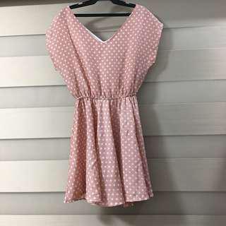 Pastel Pink Sunday Dress with Polka - Small to Medium