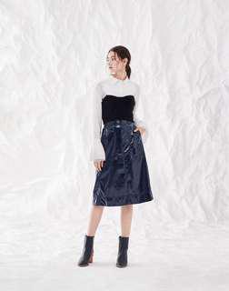 initial Ladies 皺紋漆皮裙