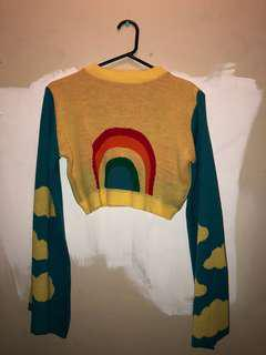 Rokoko rainbow bell sleeved crop