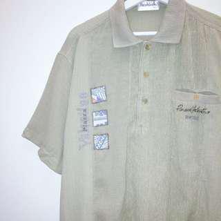 Piazza Valention ✼淺灰綠半開襟襯衫✼ 摺皺肌理 棉麻混紡 下擺縮口中性短袖上衣 日本古着Vintage