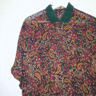 DAN JAC® ✼綠色變形蟲襯衫✼ 日本製 透視雪紡 綠暗紅花紋 二粒扣半開襟 下擺縮口 短袖上衣 古着Vintage