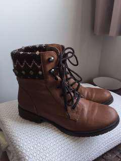 Brown Leather Tribal Boots