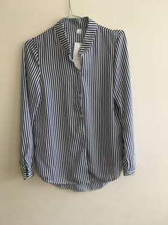 Long sleeve button up Strip shirt - work top