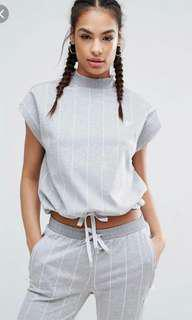 adidas originals tokyo pinstripe high neck top with drawstring waist