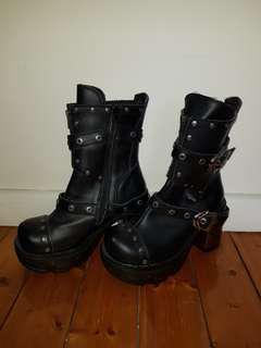 Demonia vegan leather boots with metal look heel. Labelled size 10 but best fit size 9-9.5