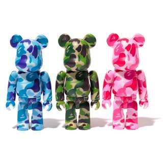 100% Bearbrick Bape ABC Camo Bathing Ape Green Pink Blue