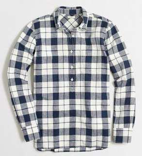J CREW Factory homespun popover shirt sz XS