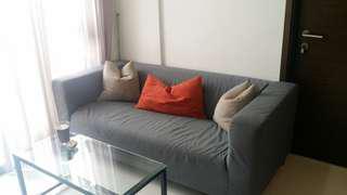 Sofa, nordic style, 2 seater, grey fabric wash. with 3 cush.