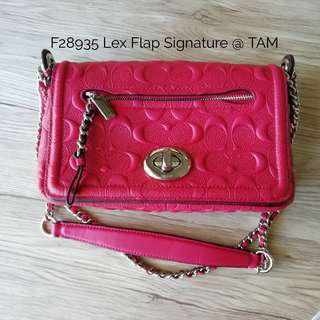 Original with Gift Receipt Coach Lex Leather Flap in Hot Pink Readystock