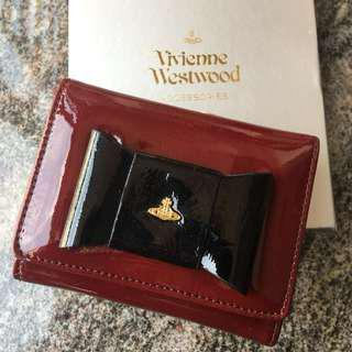 全新 Vivienne Westwood 黑色蝴蝶結紅底 女裝銀包 有瑕疵