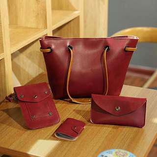 Glossy Leather 4in1 Shoulder Bag