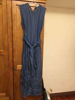 Zara繫腰帶長版洋裝