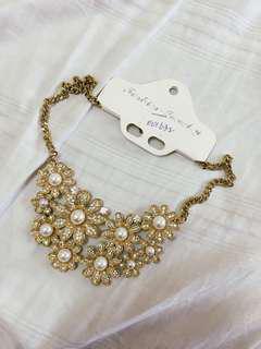 Flower Diamonds Gold Statement Necklace