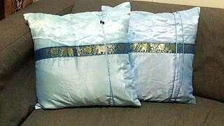 Cushions in pair of 2, bright blue, with embroidery