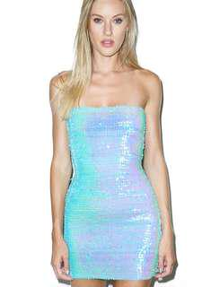 Blue sequins dress