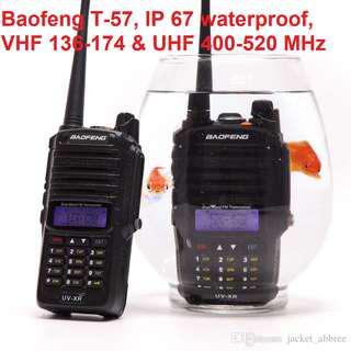 🚚 New arrival, Baofeng T-57 👍🏻IP67 Waterproof 👍🏻radio transceiver  1800mAh Battery T-57 Dual Band 136-174 & 400-520 MHz Radio  Walkie Talkie long range marine channels car convoy